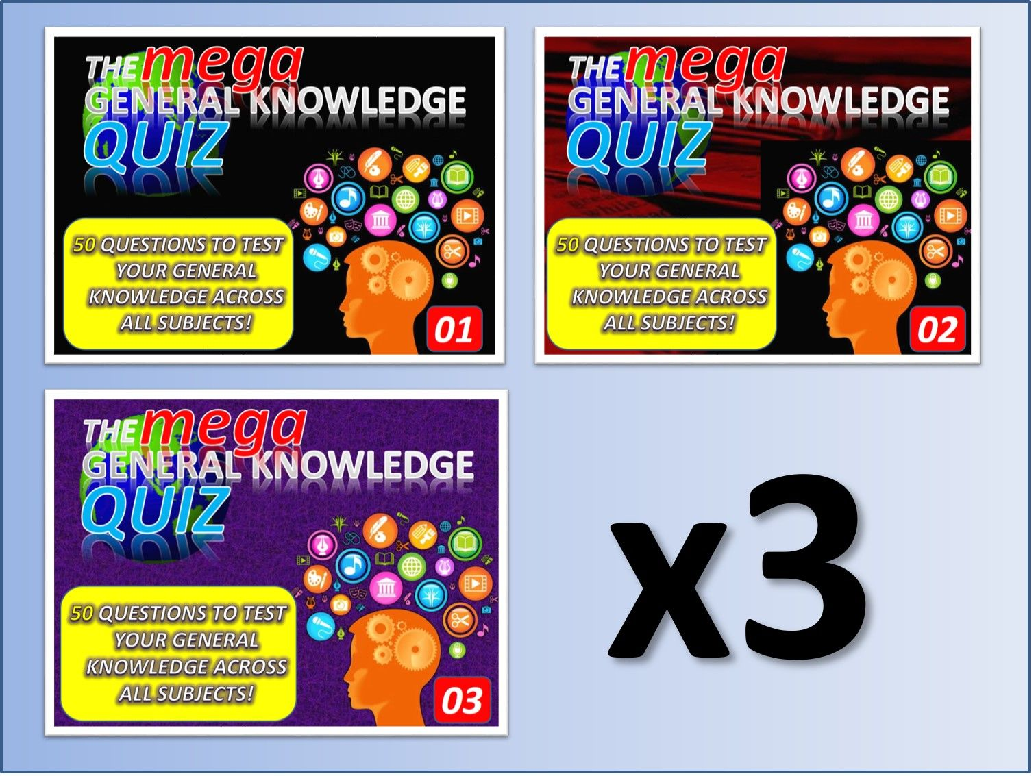3 x The MEGA General Knowledge Pub Quiz (3 x 50 Questions) Form Tutor Time Settler End of Term