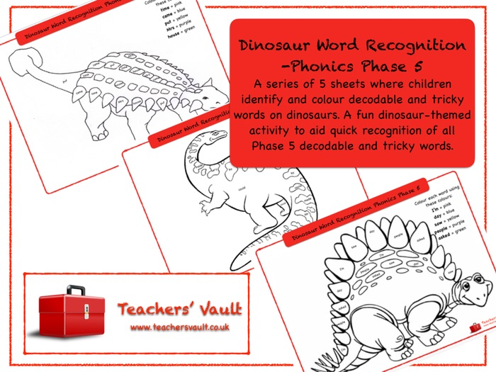 Dinosaur Word Recognition -Phonics Phase 5