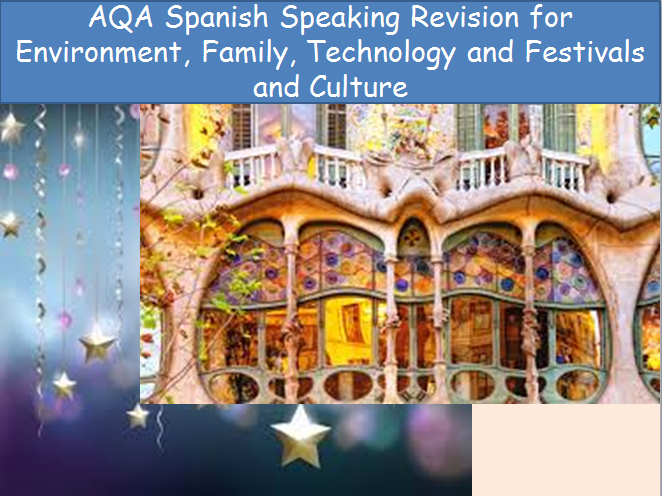 AQA GCSE Spanish Revision Resources for Speaking and Writing Environment Family Technology Culture