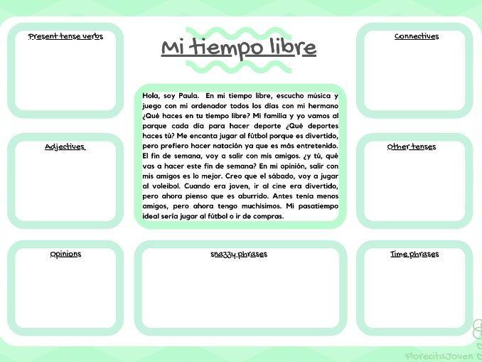 El tiempo libre - Year 7. Analyse a text.