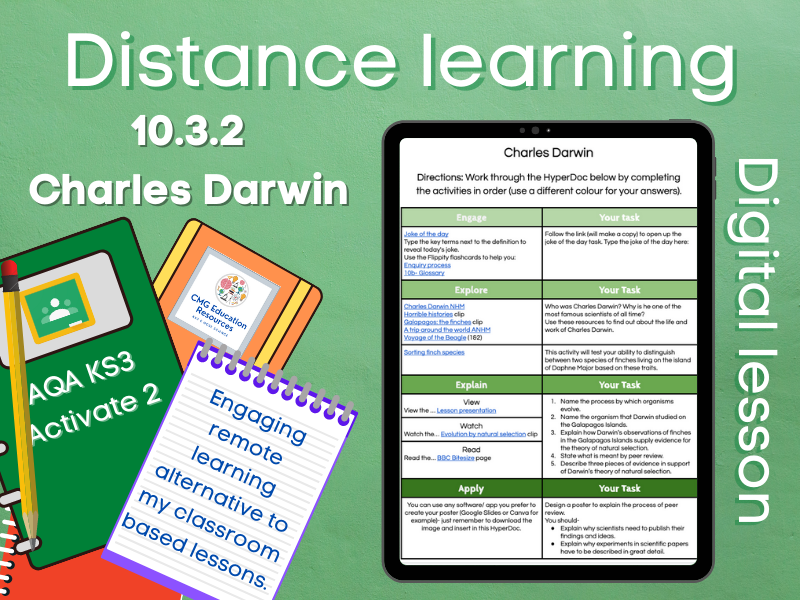 10.3.2 Charles Darwin: Distance learning (AQA KS3 Activate 2)