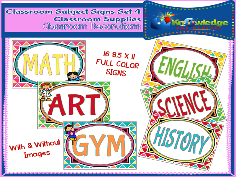 Classroom Subject Signs Set 4