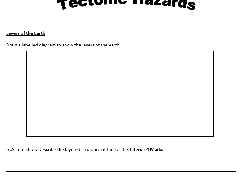 AQA Geography 9-1 Unit 1 Tectonic Hazards Exam Question Workbook