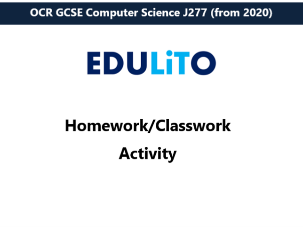Homework Activity Unit 2.3 Authentication - OCR J277 GCSE Computer Science