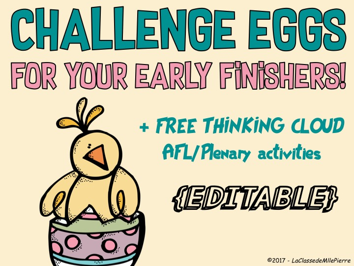 Challenge eggs for your early finishers! + FREE thinking clouds AFL