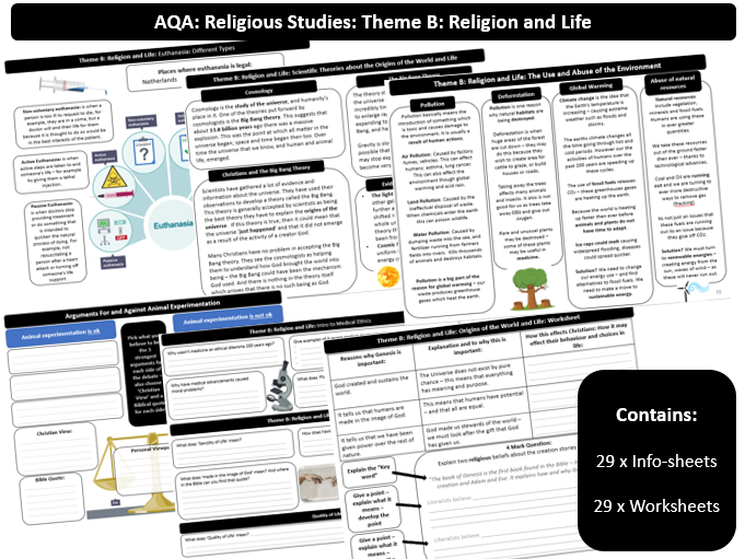 AQA Theme B: Religion and Life: 60 Page Revision Guide and Workbook