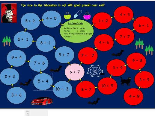 Dr Doom's addition activity / game for Reception and Year One