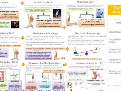 AQA GCSE PE (9-1) - Movement Analysis (3.1.2) - Lever Systems and Planes/Axes - Topic on a Page