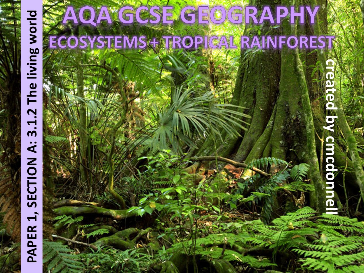 ECOSYSTEMS + TROPICAL RAINFORESTS AQA GCSE
