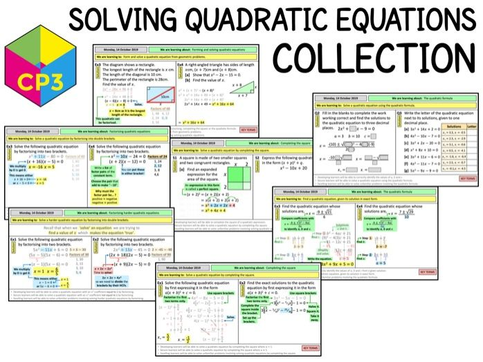 Solving quadratic equations COLLECTION (Bundle)