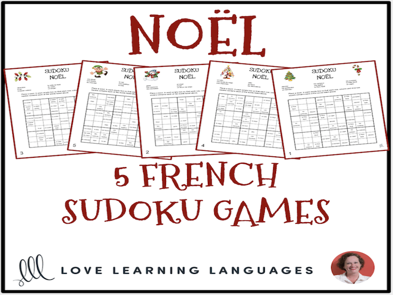 French Christmas Vocabulary - Noël - Sudoku Puzzles
