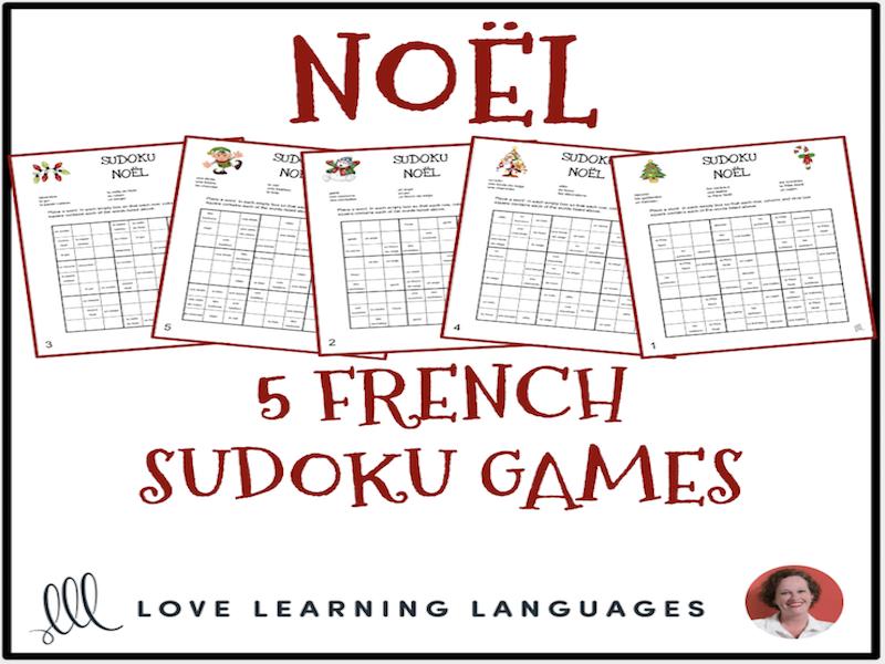 graphic regarding Christmas Sudoku Printable referred to as French Xmas Vocabulary - Noël - Sudoku Puzzles