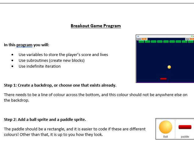 KS2 / KS3 Scratch Breakout Game - subroutines