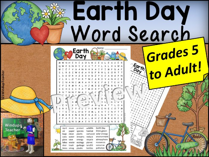 Earth Day Word Search HARD for Grades 5 to Adult