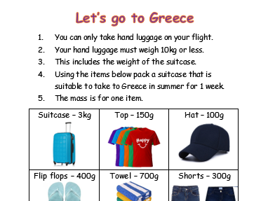 Measure g/kg - Holiday packing activity