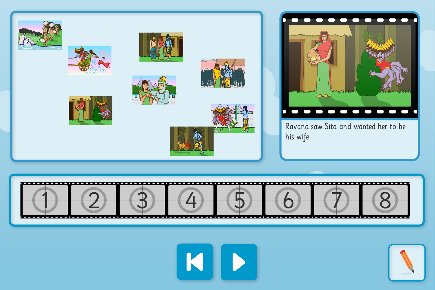 Rama and Sita Sequence and Retell Interactive Activity - Diwali KS1/KS1