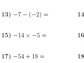 Operations with positive and negative numbers worksheet no 3 (with answers)