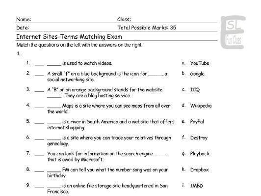 Internet Sites-Terms-Activities Matching Exam