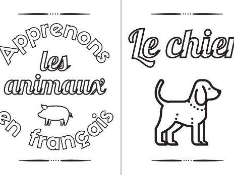 Printable Coloring Book: Learn the Animals in French ~ 16 Pages ~ Français ~ Kids' Activity