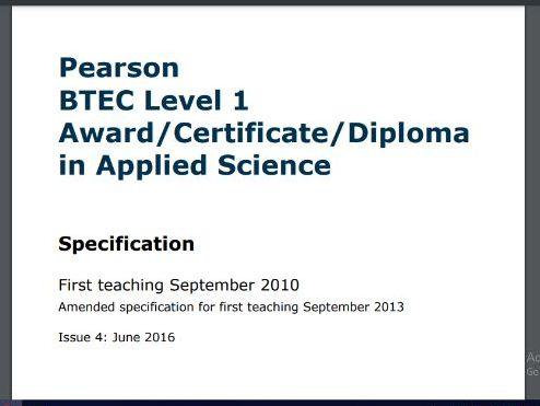 BTEC Science L1 Certificate  - 5 work packs