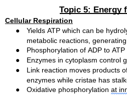 Edexcel A Level Biology Topic 5 Energy for Biological Processes