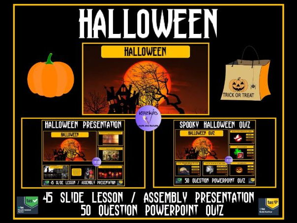 Halloween PowerPoint Lesson / Assembly Presentation and 50 Question PowerPoint Quiz