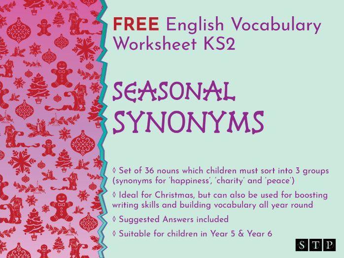 Christmas English Worksheet Synonyms KS2 Vocabulary