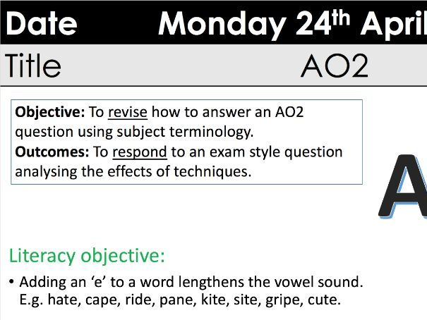 GCSE AO2 Eduqas full lesson, resources and A3 extract sheet