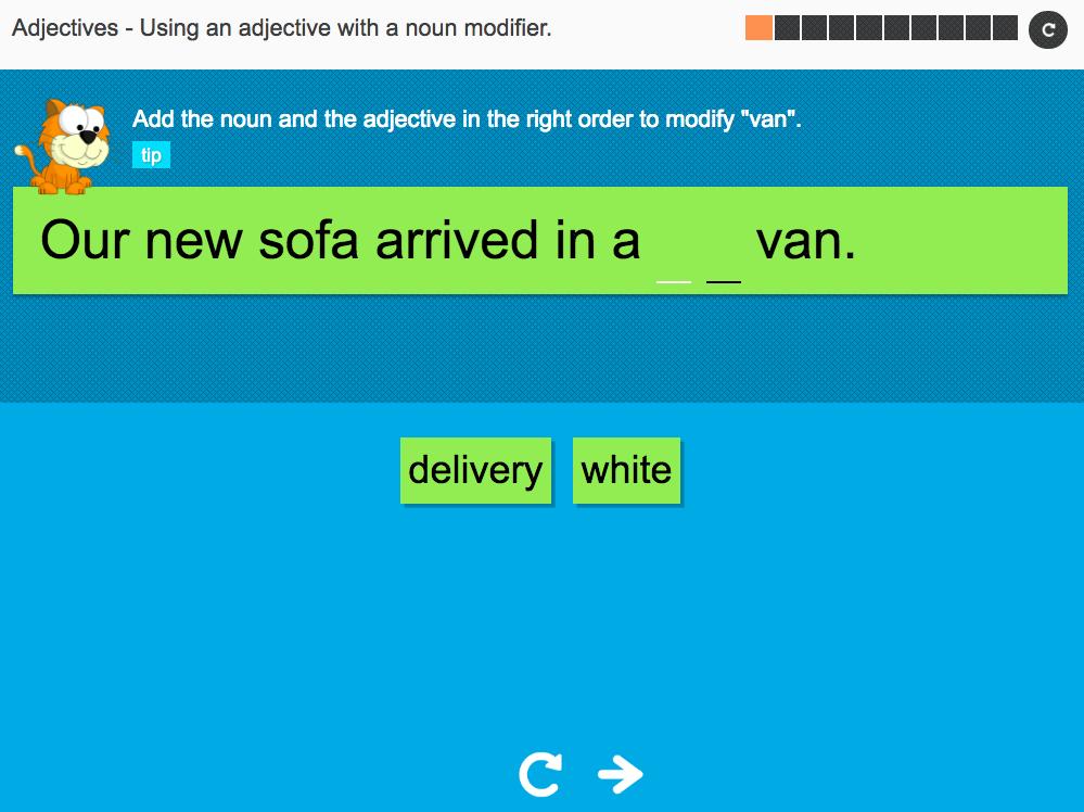 Using an adjective with a noun modifier - Interactive Activity - KS3 Spag