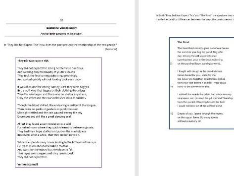 Unseen Poetry (New Spec GCSE exam)