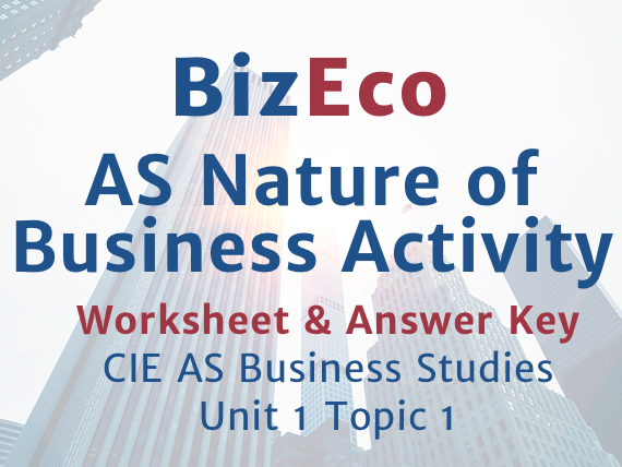 Unit 1 - Nature of Business Activity - CIE AS Business - Worksheet