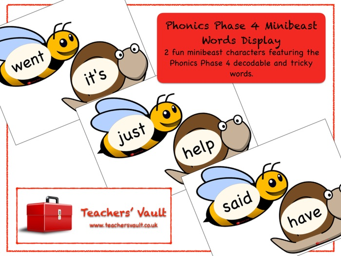 Phonics Phase 4 Minibeast Words Display