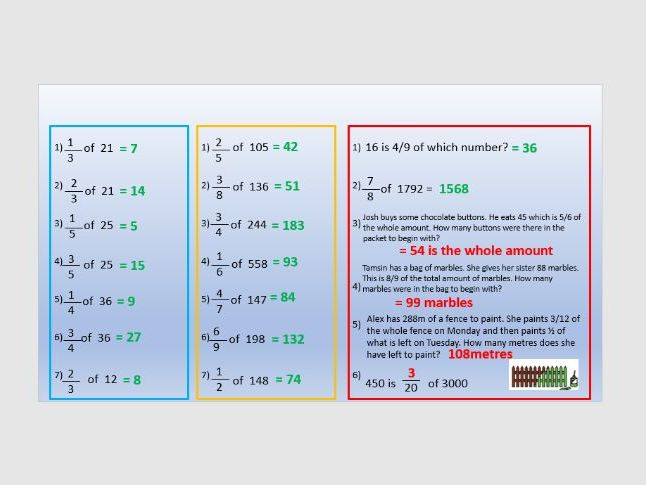 Fractions of amounts year 6 two lessons