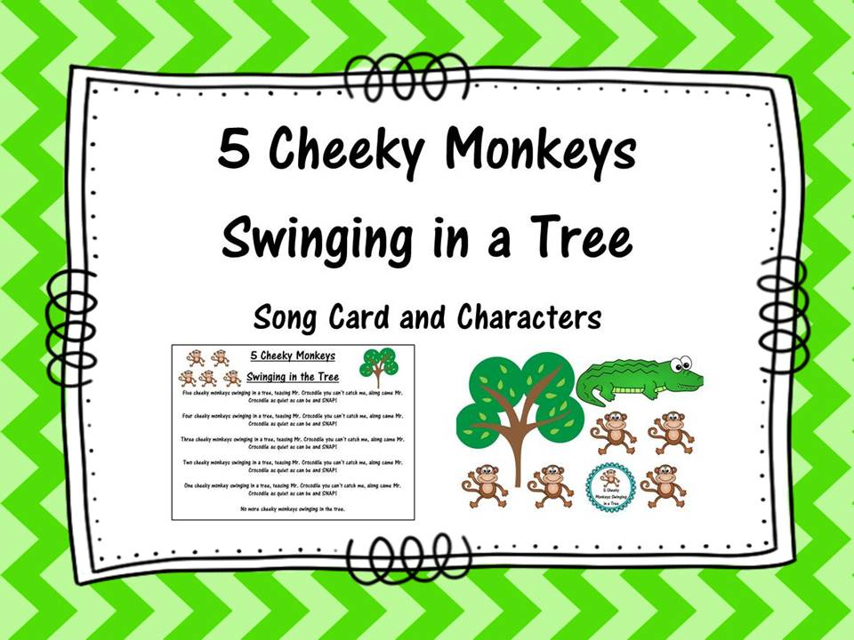 Five Cheeky Monkeys Swinging in a Tree
