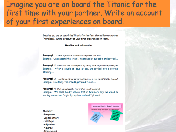 Titanic Low ability y.7 or primary powerpoint with resources