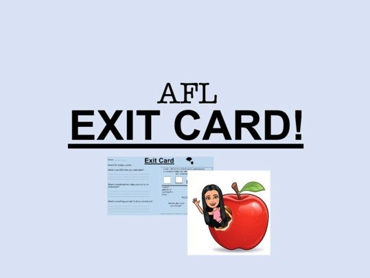 Exit Card - ANY subject