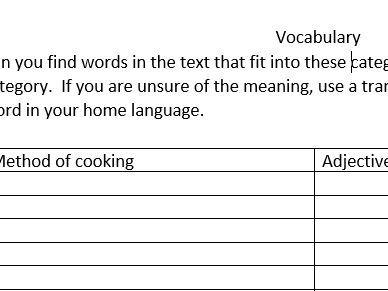 Strange food reading and vocabulary worksheet