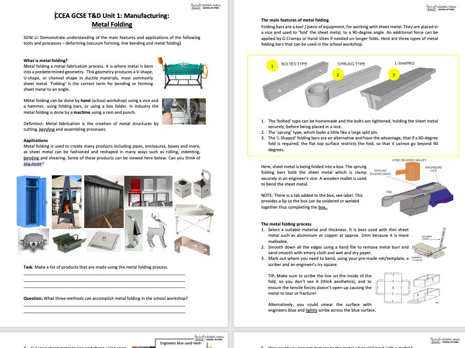 CCEA GCSE T&D Unit 1: Manufacturing: Metal Folding (PP, notes, poster)