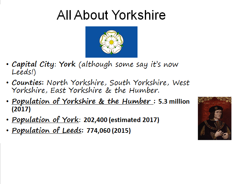 Geography - All about Yorkshire (Compare with other European location)