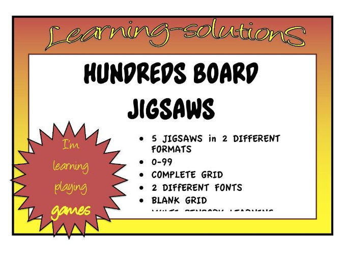 HUNDREDS BOARD JIGSAWS - 0 to 99 and 1-100 - Multisensory activity for sequencing