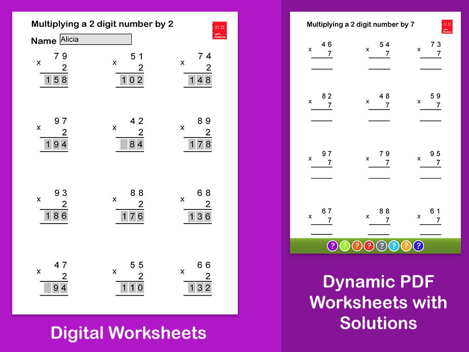 Multiply a 2 digit number by a 1 digit number  Worksheets