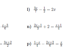 Linear equations with fractions worksheet (with solutions)