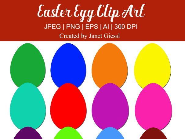 Colorful Easter Egg Clip Art - Set of 12