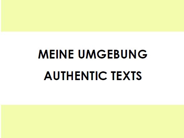 Meine Umgebung - Authentic Texts