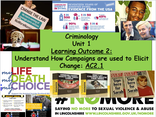 Criminology Eduqas/WJEC- Level 3 (New Spec)Unit 1 Changing Awareness of Crime-AC2.1 Campaigns