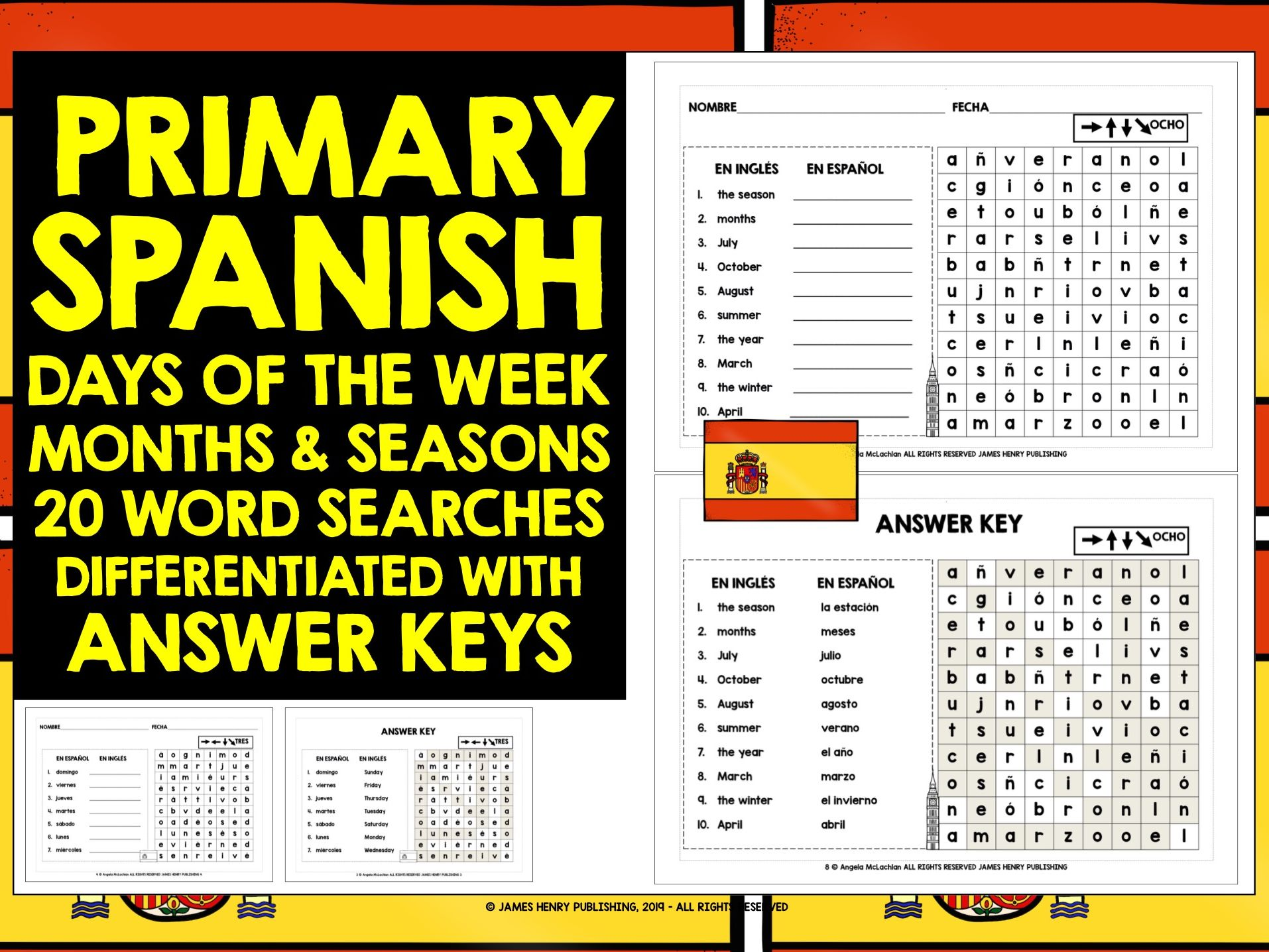 PRIMARY SPANISH DAYS MONTHS SEASONS WORD SEARCHES