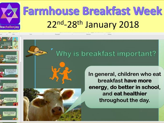 Farmhouse Breakfast Week 22-28 January 2018 Assembly / Lesson Pack