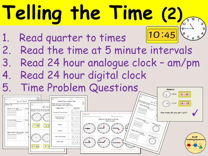 Telling the Time (24  hrs Analogue & Digital)  - Presentations, Lesson plans, Worksheets - Pack 2