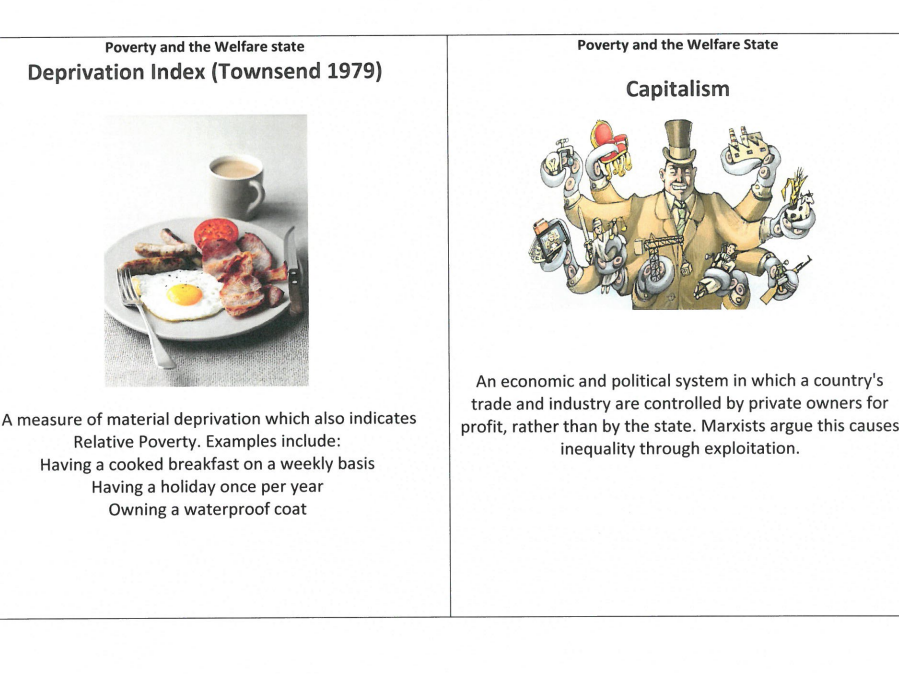 GCSE/A LEVEL Sociology Revision Cards - Poverty and Welfare states