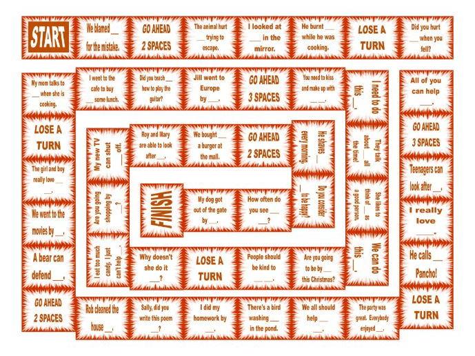 Reflexive and Reciprocal Pronouns Board Game